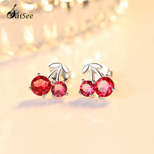 SaiSee Fashion 925 Sterling Silver Cherry Red CZ Zircon Stud Earrings for Women Girls Jewelry Gift E-348