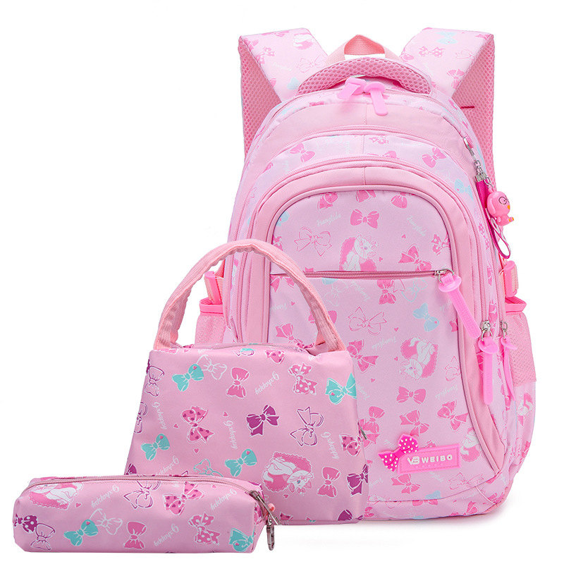 NEW 3pcs/set Bow Print School Bags For Teen Girls Primary Waterproof Nylon Schoolbags Kids Princess Backpack Mochila Infantil
