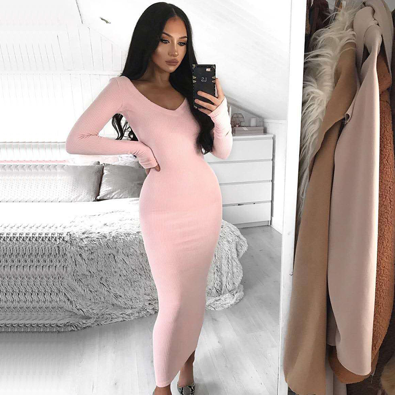 VZFF Ribbed Winter White Dress Party Bodycon Dress Women Elegant Long Dress Midi Skinny Sexy Dresses Club Wear Vestido in Dresses from Women 39 s Clothing