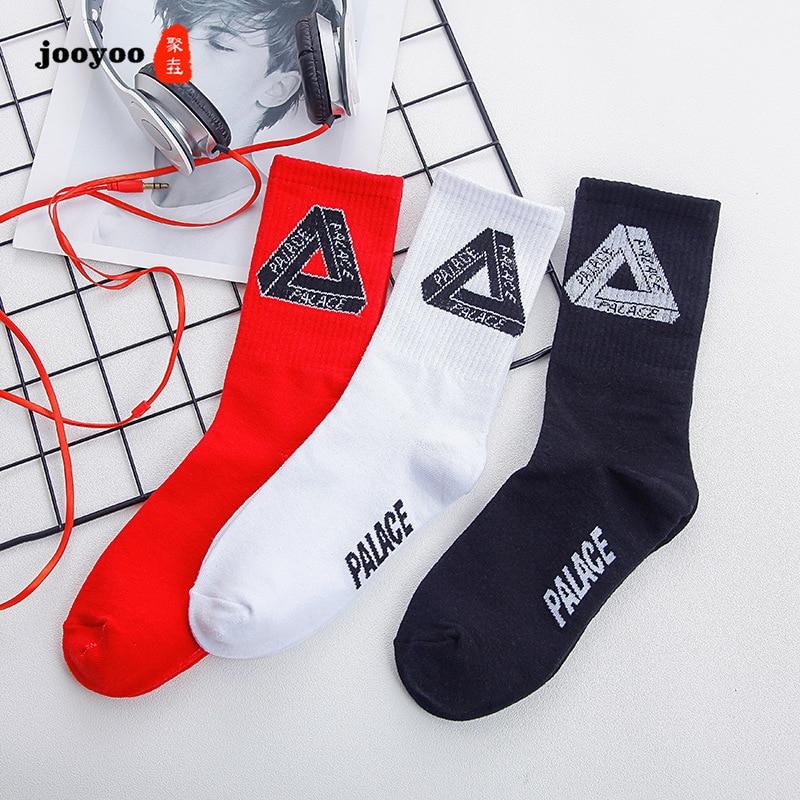 Autumn Winter Fashion Personality Male Socks Triangular Pattern High Tube Cotton Breathable Sock Hip Hop Couple Socks Men