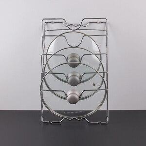 Image 4 - Behogar パンポットカバー保持収納ラックツール家庭の台所スペースを節約パンふたオーガナイザー金属防錆ポットカバーホルダー