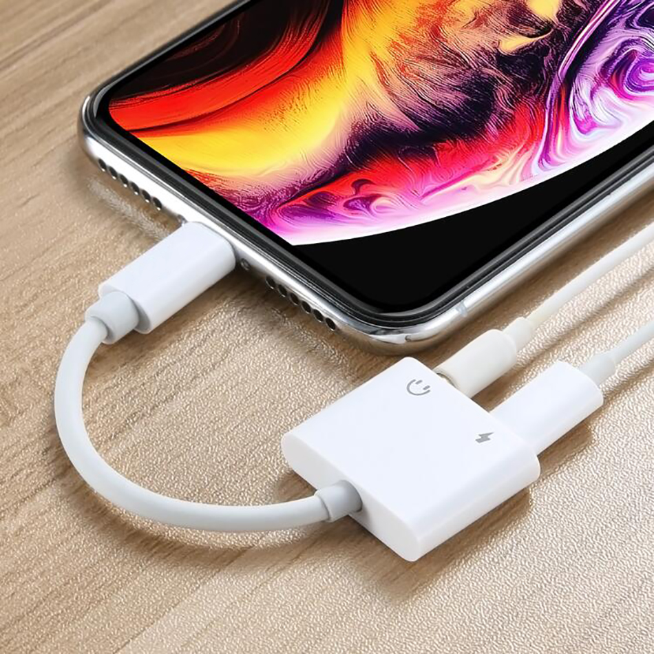 Phone Charge 8 Pin To 3.5mm Jack Headphones Audio 2 In 1 For Iphone X XS Max XR 7 8 Plus 3.5 AUX Lighting Plug Charging Adapter