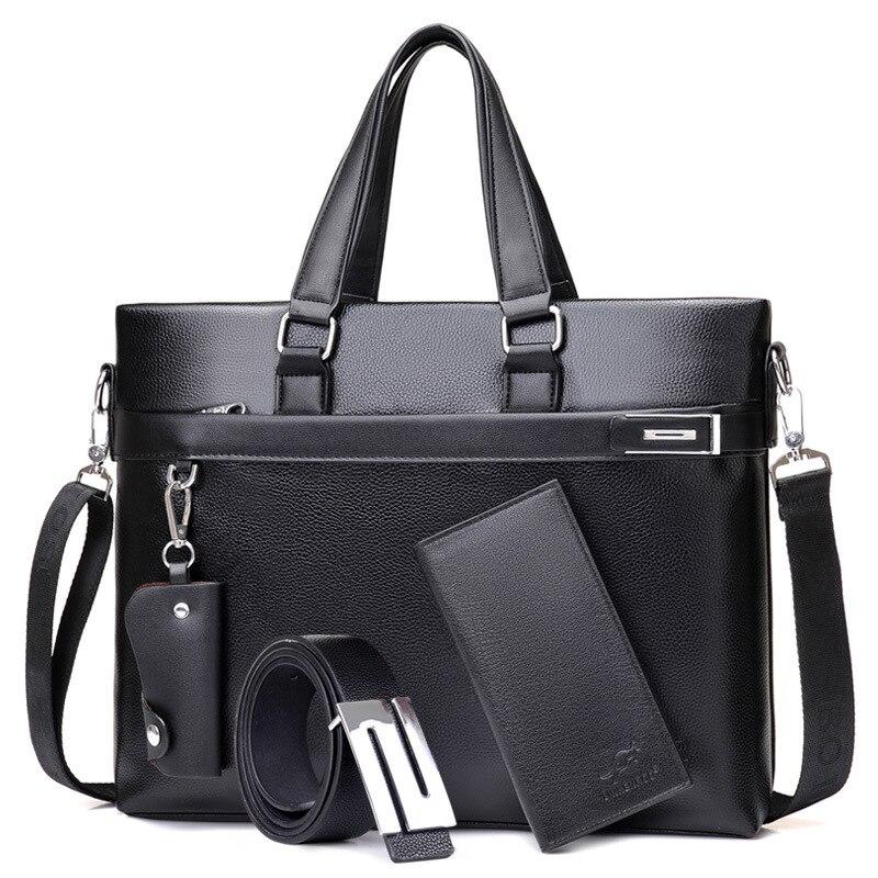Office Bags For Men 4 Pcs Briefcase Business Laptop Bag 2020 Leather Bags Computer Laptop Handbag With Purse Belt Maletin Hombre