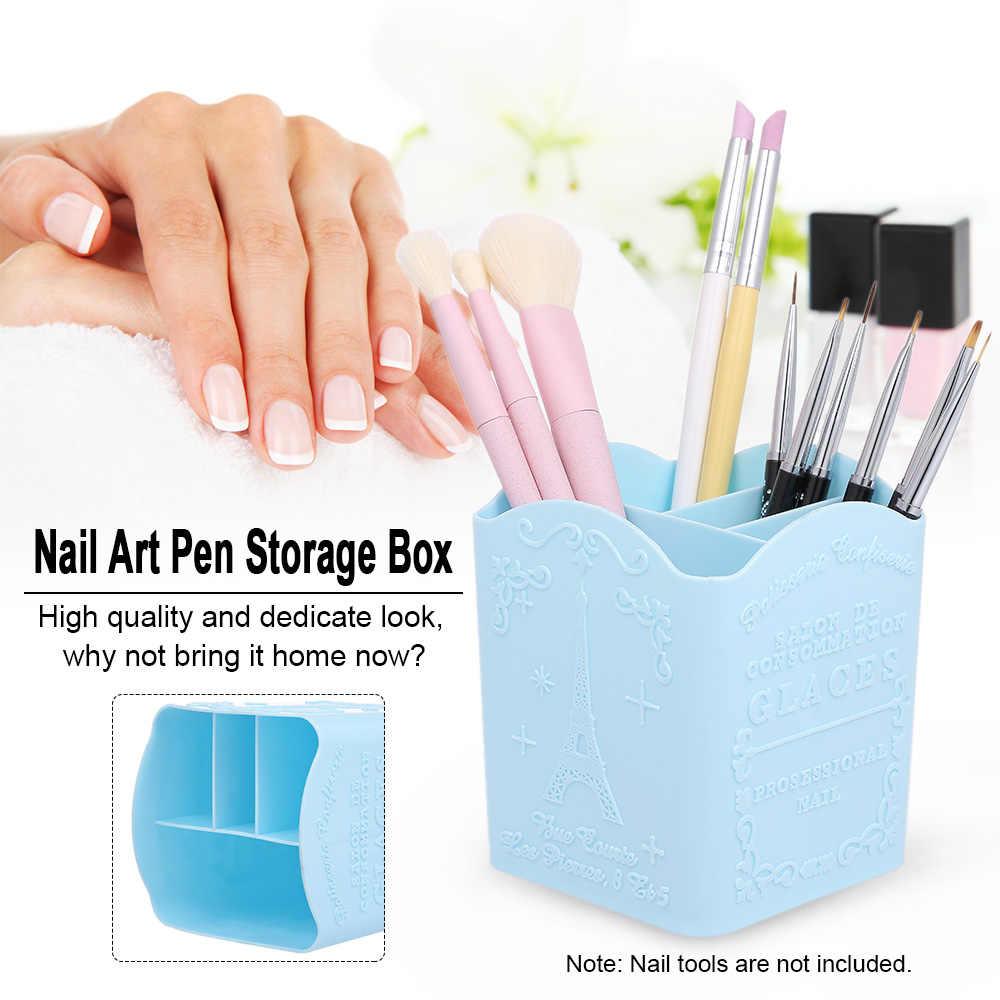 Nail Art Pen pudełko do przechowywania do paznokci narzędzia artystyczne organizator pojemnik na kosmetyki do makijażu uchwyt szczotki do paznokci stojak Salon domu dobrym pomocnikiem