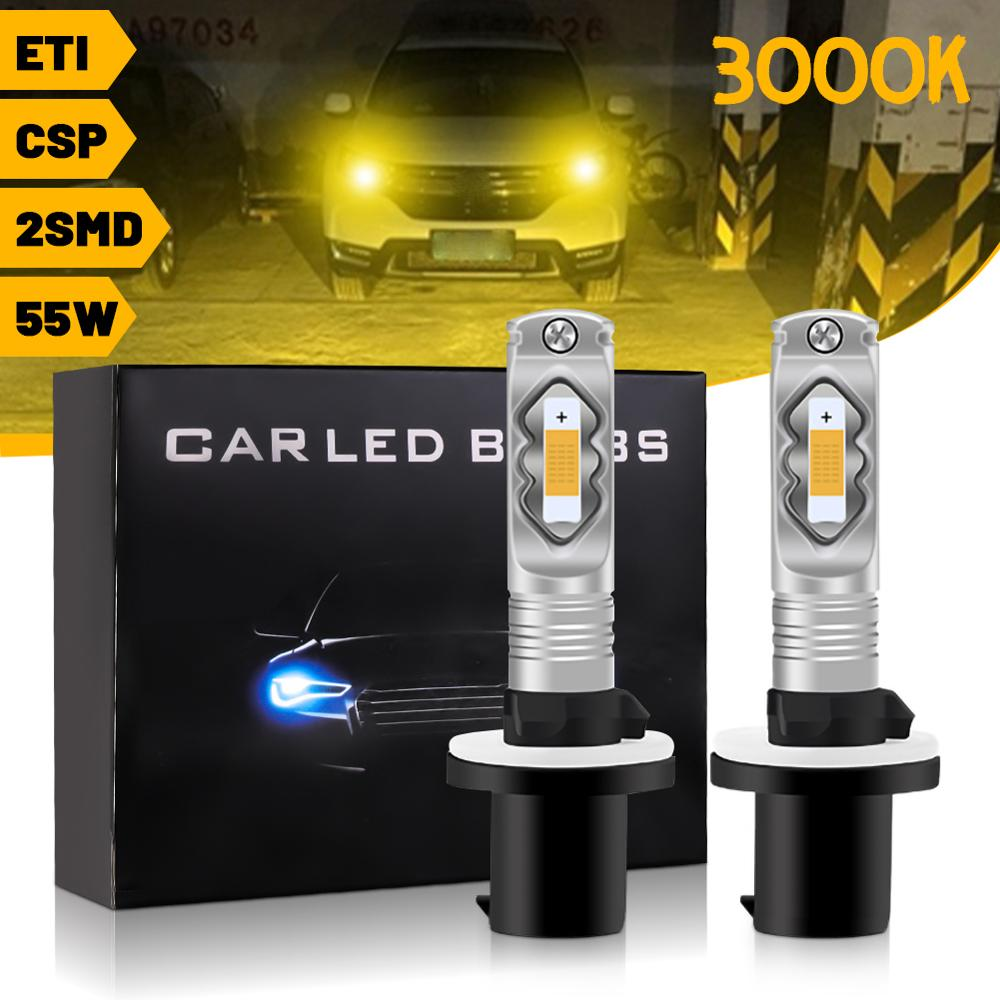 Car LED Headlight H7 H11 H8 55W High Lumen Front Fog Lamps Super Bright Yellow Light High Performance Headlight Bulb CSP Chips