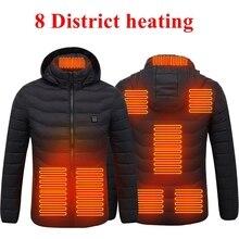 WENYUJH USB Электрический Отопление Парка Теплый 2% 2F4% 2F8 Зона Отопление Плита Открытый Теплый Пальто Зима С капюшоном Походы Кемпинг Куртка