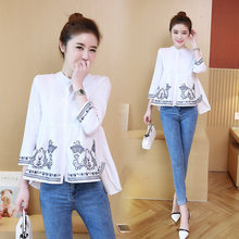 Favor Photo Shoot 2019 Spring Clothing New Style Ethnic-Style Delicacy Embroidered Loose-Fit Slimming Three-quarter-length Sleeve Pure saleoff