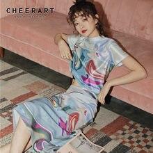 CHEERART – jupe longue moulante à imprimé esthétique pour femmes, taille haute, portefeuille, fente dans le dos, mode dames, été, 2020