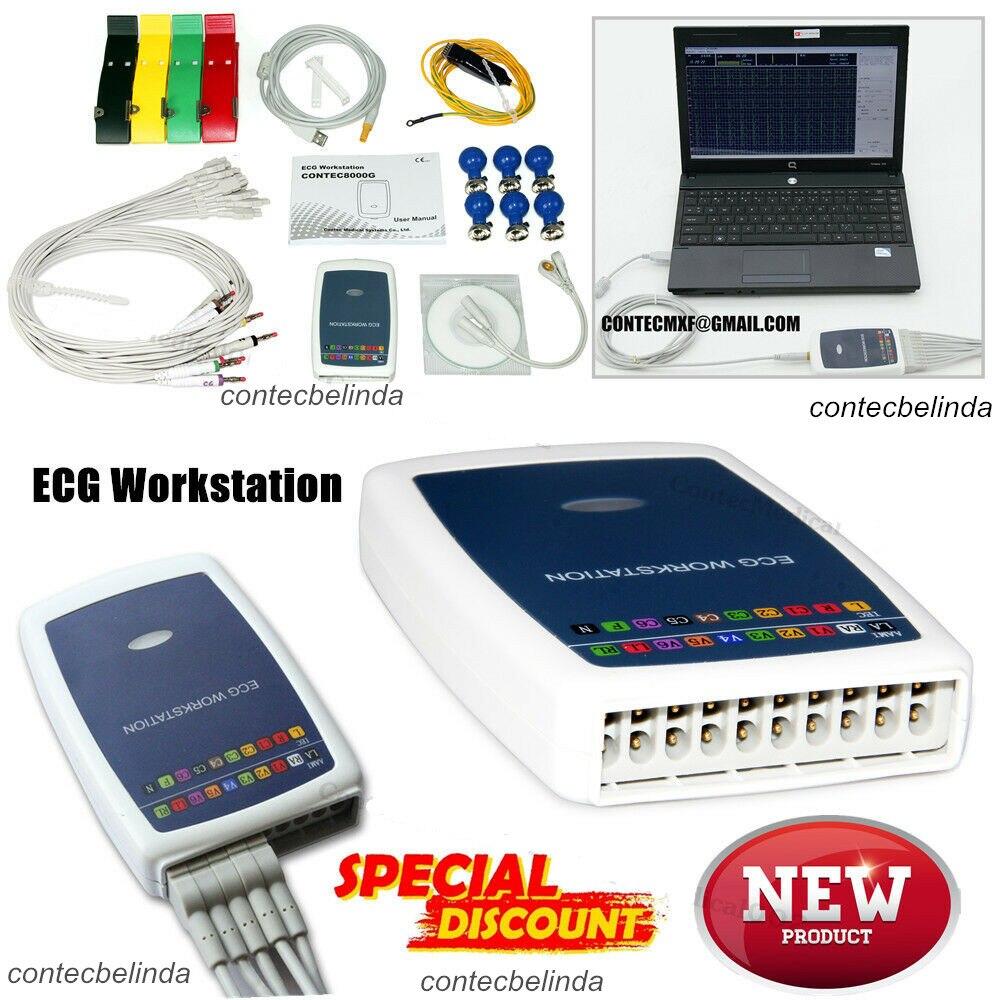 CONTEC cena promocyjna ręczny EKG stacji roboczej EKG System 12-realizacji odpoczynku oprogramowania bazy EKG maszyna