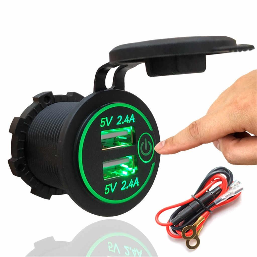 4.8A cargador Dual del coche del USB zócalo con el interruptor para vehículos de la motocicleta del coche cargador de teléfono cargador de coche para iPhone