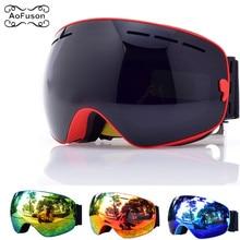 Ski-Goggles Snowboard Glasses Skiing-Eyewear Case Anti-Fog Winter Women Brand with Original
