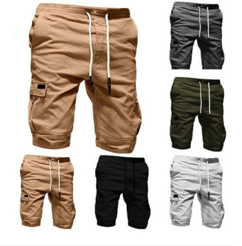 Hot Men Shorts Casual Jogger Shorts Pokects Solid Elastic Sports Cargo Military Combat Workout Gym Summer Mens Trousers New