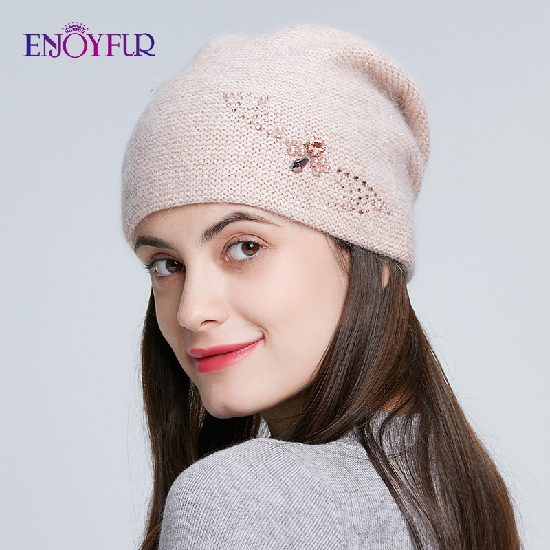 ENJOYFUR Winter Knitted Hats For Women Russia Casual Beanies Angora Rabbit Fur Hair Thick Warm Hat For Female
