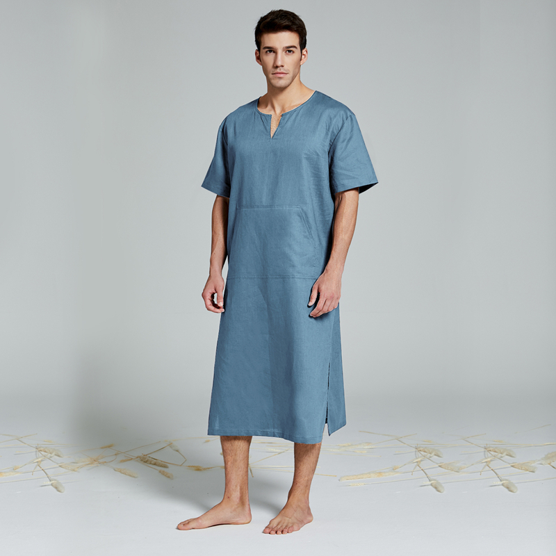 Men's Real Linen Cotton Nightgowns Extra Large Bathrobe Short-sleeved Robe Caftan Vacation Holiday Beach Robe