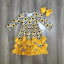 Girlymax jesień/zima dziewczyny ubrania musztarda kwiatowy słonecznik mleko jedwabne wzburzyć dziecko dzieci ubrania ruffles maxi sukienka mecz łuk
