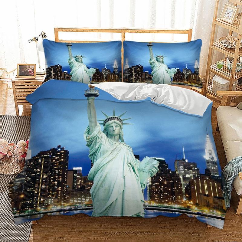 Statue Of Liberty View Design Bedding Set 3D London Paris New York City Buildings Printed Quilt Cover Bed Set Bedclothes 2/3Pcs
