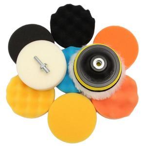 Image 1 - 11Pcs/Set 3 inch Car Polishing Disc Self Adhesive Buffing Waxing Sponge Wool Wheel Polishing Pad For Car Polisher Drill Adapter