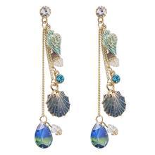 Dangle Earrings Women Ethnic Shell Water Drop Rhinestone Long Ear Stud Jewelry Earrings Women Alloy Rhinestone Wedding Evening стоимость