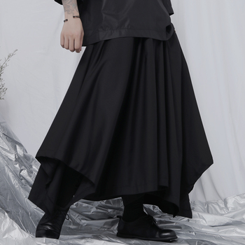 Men's fashion casual men's nine-point wide-leg pants European and American personality hairdresser skirt pants