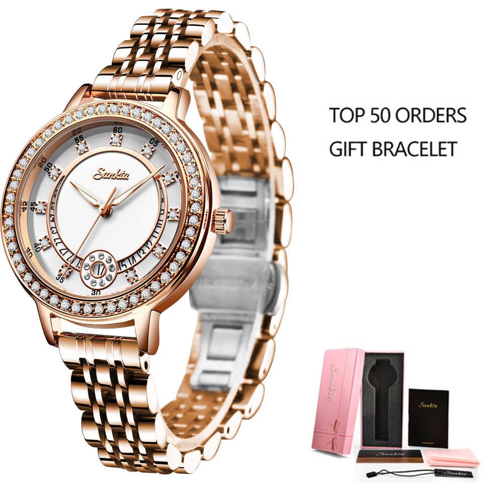 SUNKTA נשים שעונים אישה שמלה למעלה מותג יוקרה מתנת צמיד שעון קוורץ יד שעונים לנשים שעונים Relogio Feminino + תיבה
