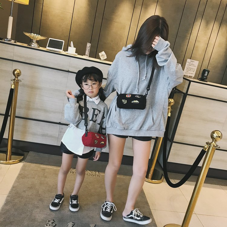 CHILDREN'S Bag Korean-style Badge Cylinder Shoulder Bag Men And Women Baby Versitile Fashion Shoulder Bag Plush Accessories Bag
