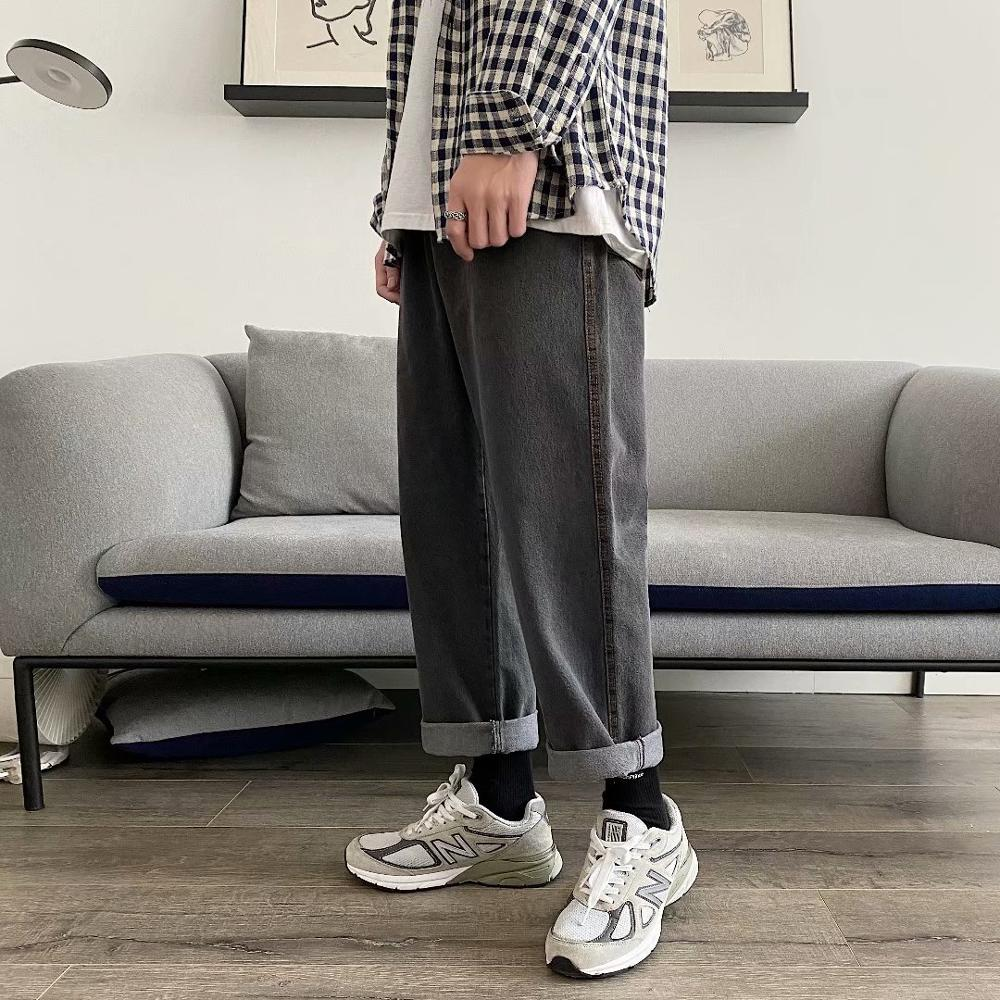 Jeans men's straight straight loose big foot mouth feeling wide leg long pants Japanese ins trend spring and autumn casual wild