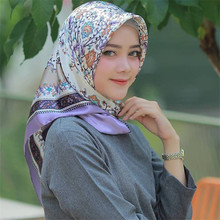 90*90cm Women Stain Silk Square Scarf Muslim Head Scarves Hijab Femme Musulman Floral Print Bandana Ladies Neck Hair Scarfs