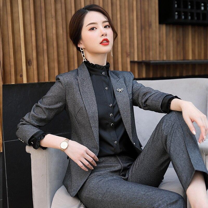 Women Suit Business Blazer & Pant Office Lady Long Sleeve Jacket Pant Suits Elegant Femme 2 Pieces Set Interview Suits
