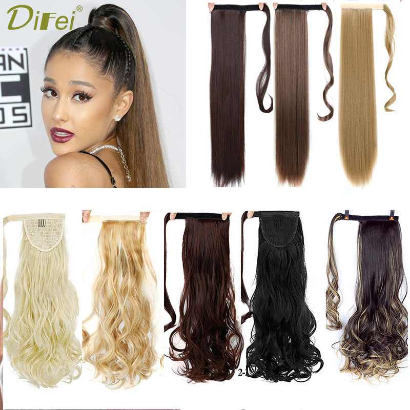 DIFEI 24'' Long Curly Clip In Hair Tail False Hair Ponytail Hairpiece With Hairpins Synthetic Hair Pony Tail Hair Extension