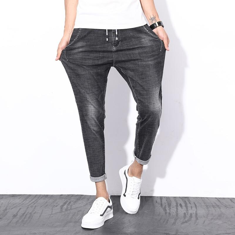 Summer Thin Section Black Gray Jeans Men's Elasticity Capri Pants Sub-Trend Of Fashion Men's Trousers Hot Selling