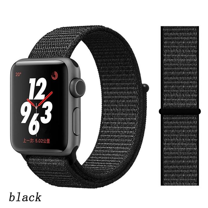 Спортивная петля ремешок apple watch band 42 мм 38 мм apple watch 4 3 band iwatch band 44 мм 40 мм correa pulseira 42 44 нейлоновый ремешок для часов - Цвет ремешка: whole black