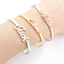 Custom Jewelry Personalized Name Bangle For Women Gold Signature Bracelet Adjustable Armbanden Voor Vrouwen Christmas