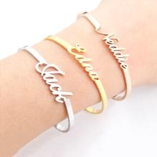 Custom Jewelry Personalized Name Bangle For Women Gold Signature Bracelet Bangle Adjustable Armbanden Voor Vrouwen Christmas цена