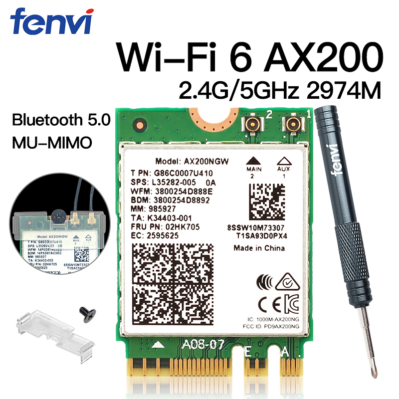Dual Band Wireless M.2 Wifi 6 AX200 2974Mbps Bluetooth 5.0 802.11ax MU-MIMO NGFF Laptop Network Wi-Fi Card AX200NGW Windows 10