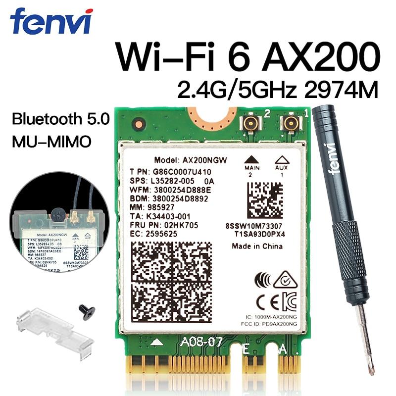 Dual Band Wireless M.2 Wifi 6 AX200 2974Mbps Bluetooth 5.0 802.11ax MU-MIMO NGFF Laptop Network Wi-Fi Card AX200NGW Windows 10