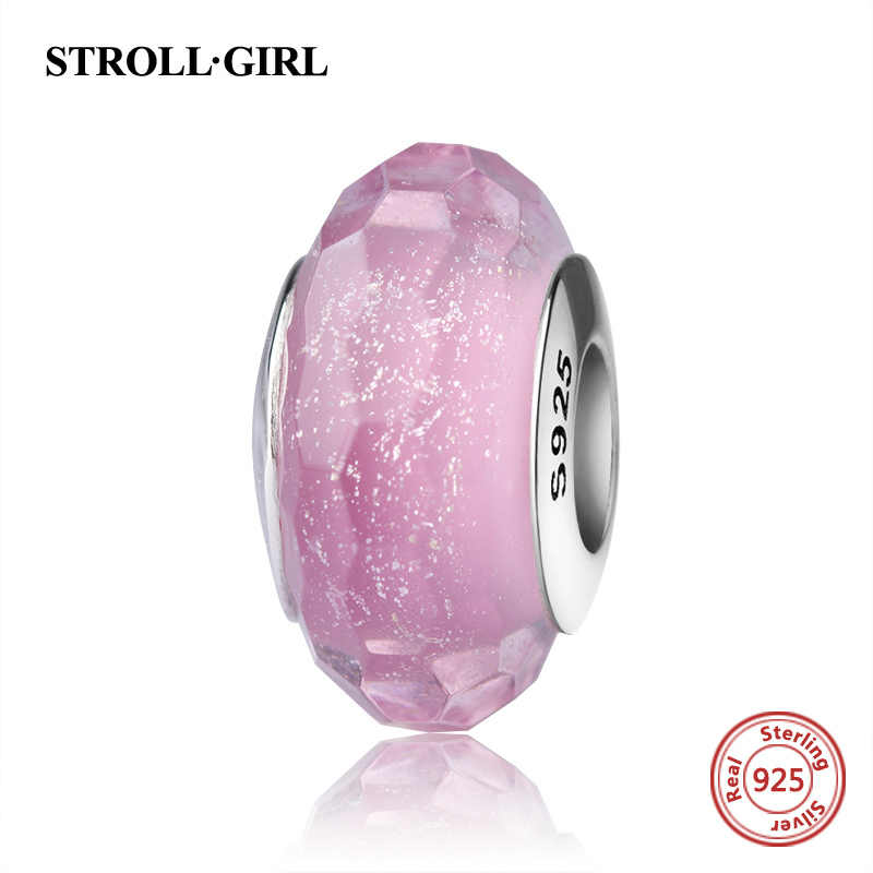 StrollGirl Authentic Murano glass beads pink color 925 silver charms fit original pandora bracelet diy jewelry making women gift