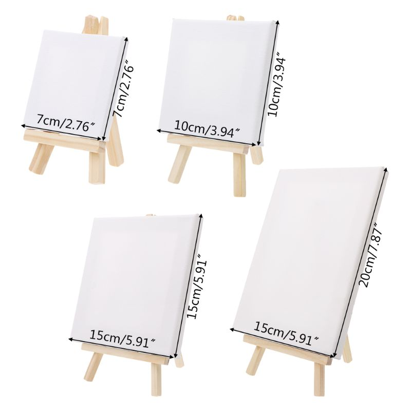 7*12cm Mini Canvas And Natural Wood Easel Set For Art Painting Drawing Craft Wedding Supply U1JA