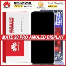 100% original 6.39 amamamoled display com moldura para huawei companheiro 20 pro display lcd digitador da tela de toque mate20 pro peças reparo