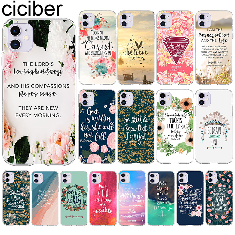 ciciber bible Quotes Phone Case For Iphone 11 Case For iPhone XR 11 Pro 7 X XS MAX 8 6 6S Plus 5S SE Silicone Funda Coque Cover(China)