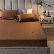 Fitted-Sheet Pillowcase Bed-Cover Queen Flannel for Winter Warm Crystal Velvet Drap-De-Lit