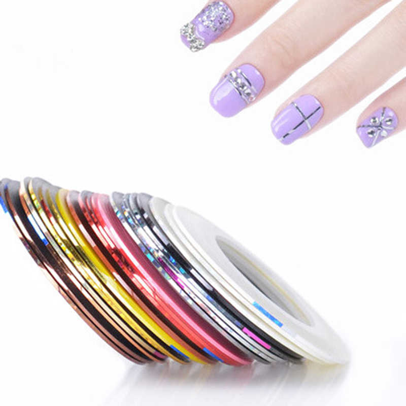 30 Colors Rolls Glitter Nail Striping Decals Foil Tips Tape Line Sticker Set For DIY Nail Art Tips Decorations Nail Foil Decals
