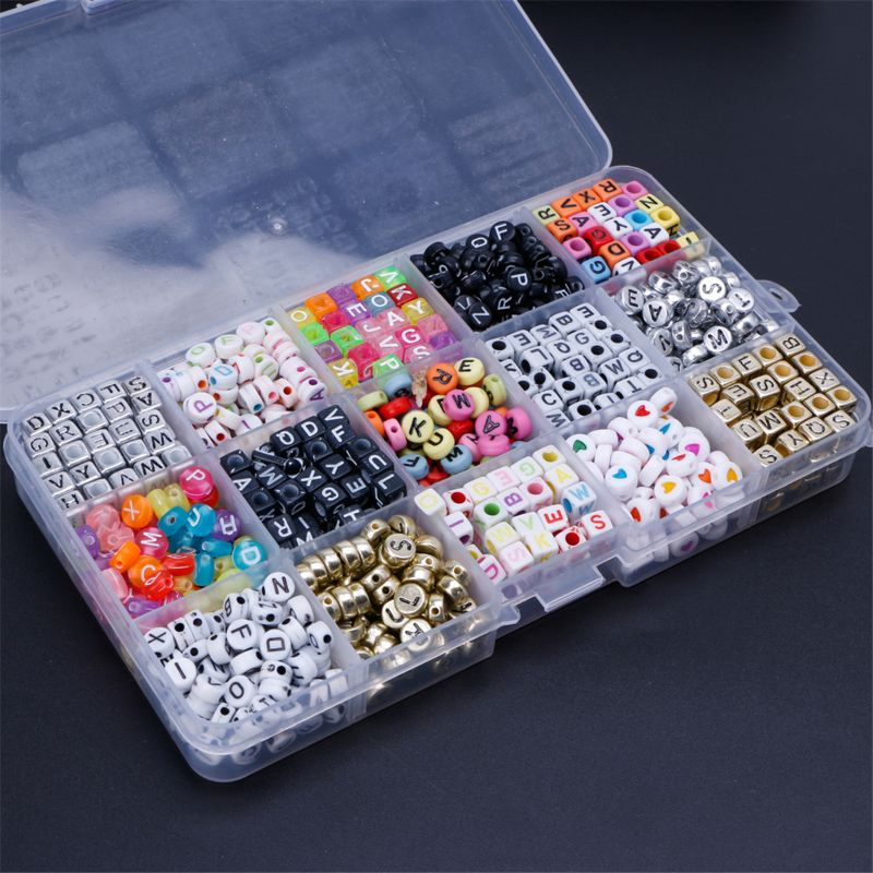 1100pcs 15 Color Acrylic Alphabet Letter Beads With 1 Roll Of Crystal String Cord Beads For DIY Bracelets Key Chains Necklaces