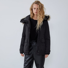 Ladyfirsy ZA Original Design Kurze Unten Jacke für Frauen 2019 Winter Weihnachten Schnee Mäntel Plus Größe Mit Kapuze Kragen Unten Jacke
