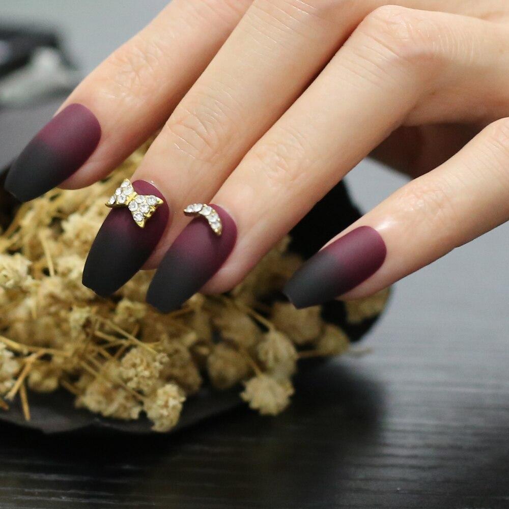 artesanal borboleta dourada falso prego ouro crescente vermelho e preto gradiente fosco falso prego caixa preta