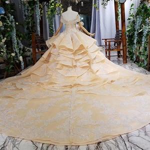 Image 3 - HTL660 short sleeved ball gown wedding dresses cathedral train sequined  off the shoulder wedding dress vestido de casamento