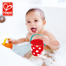 Hape baby bath toys water toy kids toys colourful bucket rubber duck on swimming pool