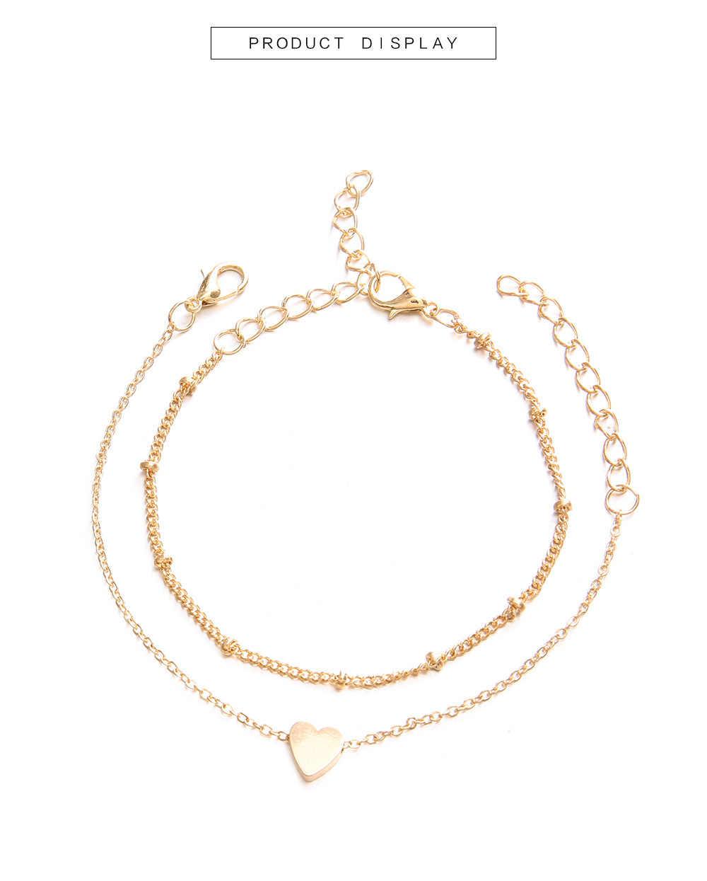 2 יח'\סט מינימליסטי זהב כסף צבע קטן אהבת קישור שרשרת צמידי ידידות נשים אהבת קסם צמידי צמידי תכשיטים