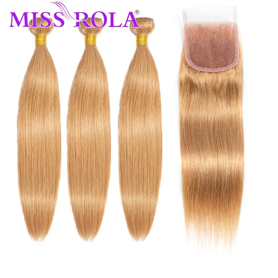Мисс Рола перуанский объемная волна человеческих волос Инструменты для завивки волос 3 пряди с 4*4 застежка 27 # блондинка с эффектом деграде (...