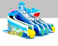 attractive inflatable shark slide water slide for big swimming pool