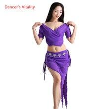 Novo fio conjunto de dança do ventre feminino curto mangas compridas profundo v gola superior + saia 2 pçs conjunto de exercício de dança do ventre feminino 4 cores m l